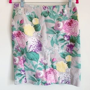 H&M Floral Pencil Skirt Tan Pink Size 10